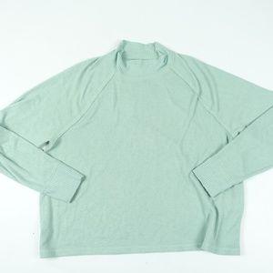 Soft Fuzzy Long Sleeve Green Reverse Stitch Top
